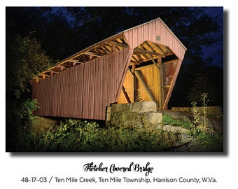Fletcher Covered Bridge A2 note cards, set of 2 with envelopes