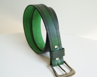 Green Leather Belt Handmade Leather Belt Embossed Belt Big Buckle Belt Casual Belt Strong Leather Belt