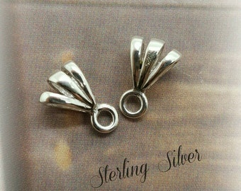 4, Silver Bails, Sterling Silver Triple Loop Pendant Bails, with Ring Small 10.8x6.1, Jewelry Findings, Sterling Silver Bail, ships from US