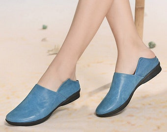 Handmade Leather Shoes for Women, Personal Flat Shoes, Flat Sandals, Slip On Sandals, Slipper style shoes