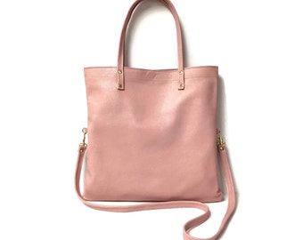 Leather tote bag in pink // minimal cross body bag // convertible bag // simple modern crossbody bag // more colors available
