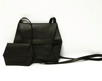 Black crossbody bag // leather hex bag // minimal cross body bag