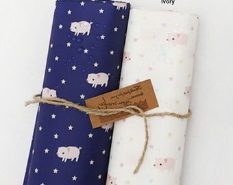 Waterproof Fabric Cute Little Pigs in 2 Colors By The Yard