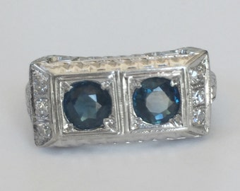 RESERVED: Featured is a 10k White Gold Blue Spinel and Diamond Two Stone Art Deco  Ring Size 5.5