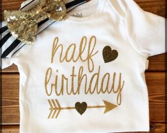 Half Birthday Onesie & Bow Set