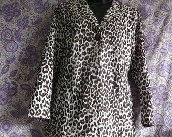Size 8 Funky STYLISH Women's Leopard Print Coat-LINED. GORGEOUS.fab for autum/dressed up or down
