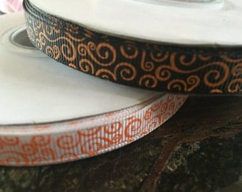 "3/8"" Halloween orange swirl on black or white grosgrain"