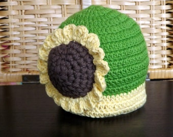 Crochet Sunflower Baby Hat size 3-6mos