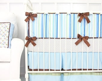 CLEARANCE {reg price 389} | 4pc Set Inculdes crib skirt, sheet, blanket and bumpers | Cade Baby Bedding