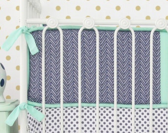15% OFF SALE- Mint and Navy Chevron Crib Bumpers | Mint and Navy Chevron Collection