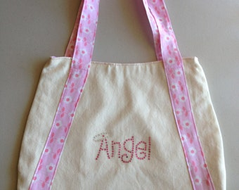Handmade Market Tote/Purse With Pink Contrasting Straps and Lining