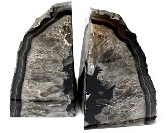 Black Agate Bookend Pair - 6 to 9 lb - Geode Bookend - Home Decor - Crystal and Stones BKE