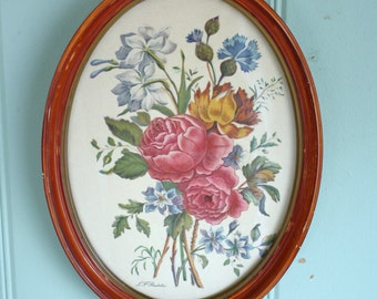 Shabby Floral Print Framed Roubillac Bouquet Gesso on Wood Frame Cottage Decor