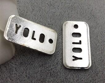 8PCS - YOLO pendant Charm Antique Tibetan Silver Tone Stilettos - 17x32mm - F1527