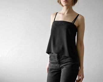 vintage black spaghetti strap crop top tube top with pleats detail