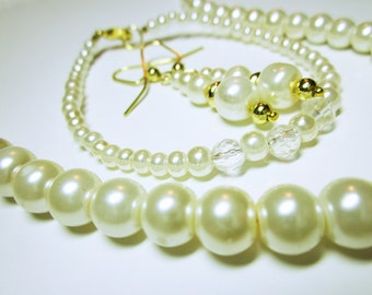 Ivory Bridal Wedding Set Ivory And Crystal Jewelry
