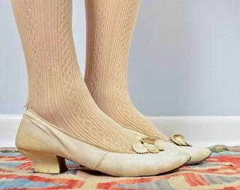 Antique White Leather Wedding Heels