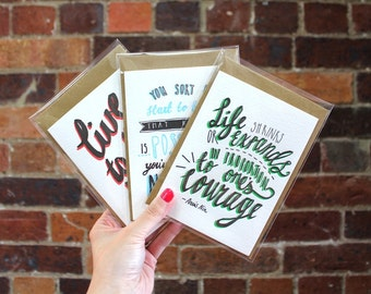 Pack of 3 Women in Literature A6 Letterpressed Greeting Cards