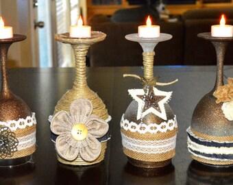Rustic wine glasse candle holders Pick 2