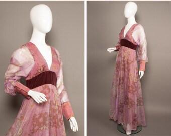 QUAD 70s Indian Print Psych Boho Peasat Dress UK 6