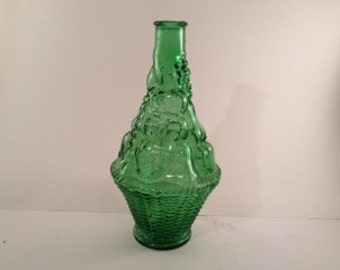 Vintage Carafe - Vintage Wine Carafe - Carafe - Wine Carafe - Green Glass - Made in Italy - Italian Glass - Decanter - Barware - VE Glass