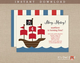 PIRATE ADVENTURE Birthday Party Printable Invitation - Instant Download