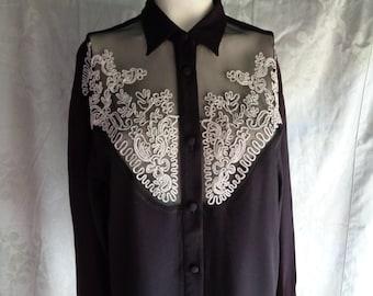 Vintage blouse black crepe white  soutache trim