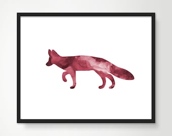 Fox Art Print - Watercolor fox, kids decor, nursery art, woodland animals, childrens art, home decor