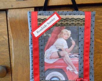 Fabric Wall Hanging with Car Mechanic Pin Up Girl Art Block Print