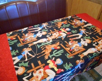 Vintage Trailer Dinette Tablecloth with Western Pin-up Girls Print