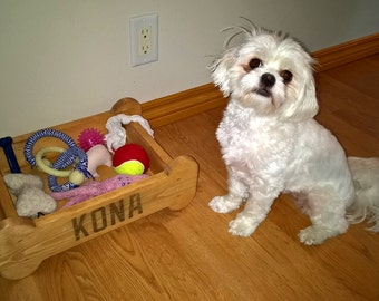 Dog Toy Box - Wood, Customized Storage Box For Puppy Toys