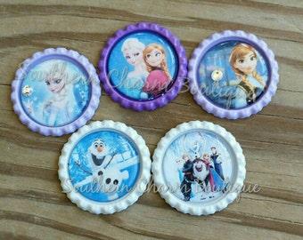 Set of 5 frozen bottlecaps