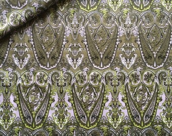 Cotton sateen fabric Green/Grey - 100% cotton - 153cm wide - Half metre