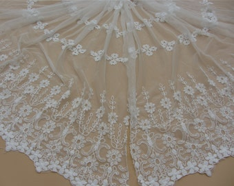 White Lace Fabric embroidery lace fabric,Double scalloped Embroidered cotton lace-125cm width