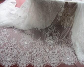 3yards Chantilly lace fabric sold by yard,wedding Lace trim, 100cm/150cm Eyelash lace for lace dress-LSM3L023