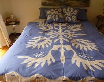 Jack Fruit Leaf Applique Embroidered Quilt Cover Set