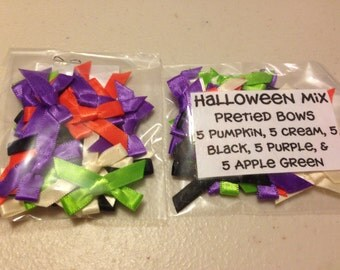 25 Pre-tied Satin Bows,Halloween,purple,lime green, orange, pumpkin,tiny bows, baby bows