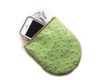 PRICKLY PEAR POUCH • Small Green Prickly Pear Bag • Ostrich Embossed Zipper Bag • Texas Hill Country