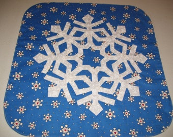 snowflake for a table decoration-machine appliqued and quilted-end table decoration