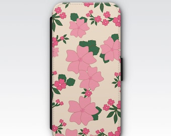 Wallet Case for iPhone 8 Plus, iPhone 8, iPhone 7 Plus, iPhone 7, iPhone 6, iPhone 6s, iPhone 5s- Vintage Flowers Pattern Wallet Phone Case
