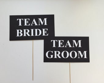 Team Bride and Team Groom. Photobooth Props Photo Booth Props Set of 2