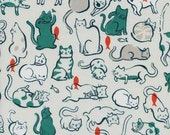 Cat Lady by Sarah Watts for Cotton and Steel - Fat Quarter- Schmitties in Teal