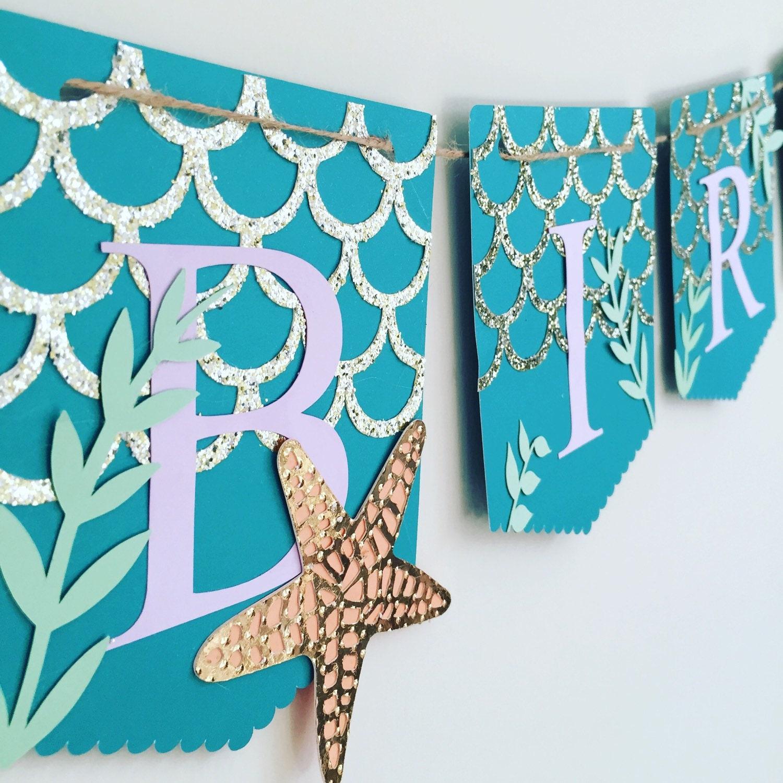 Birthday Banner Mermaid Themed Banner By PoppiesandPaperShop