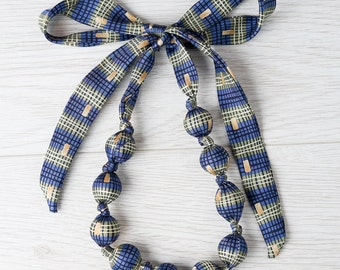 Silk fabric beaded necklace (6)