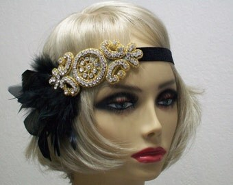 1920s headpiece, Flapper headband, Great Gatsby headpiece, Feather headband, Downton Abbey, Rhinestone Art Deco, 1920s hair accessory