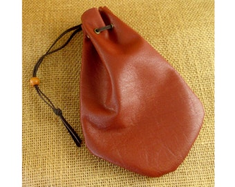 Reddish Brown Leather Drawstring Pouch Dice Bag for RPGs or Costumes