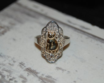 Gold Cat in Silver Filigree Lace Ring in Vintage Sterling Silver #BKC-KRNG04