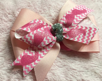 Hot pink mustache hair bow