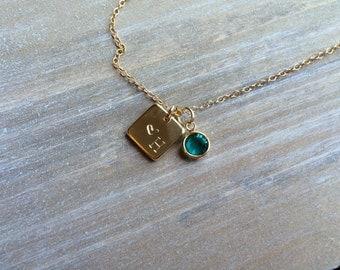 Small Personalized Tag Necklace / Gold Fill Chain / Swarovski Birthstone Charm AC1006