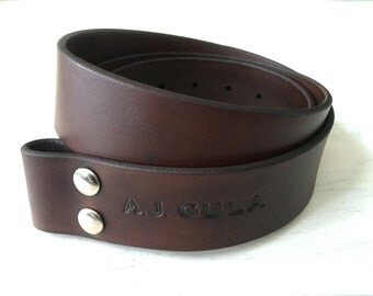Leather Belt Strap - Belt Blank Personalized Engraving - Brown Leather Belt with Name Initials - Christmas gift - birthday present